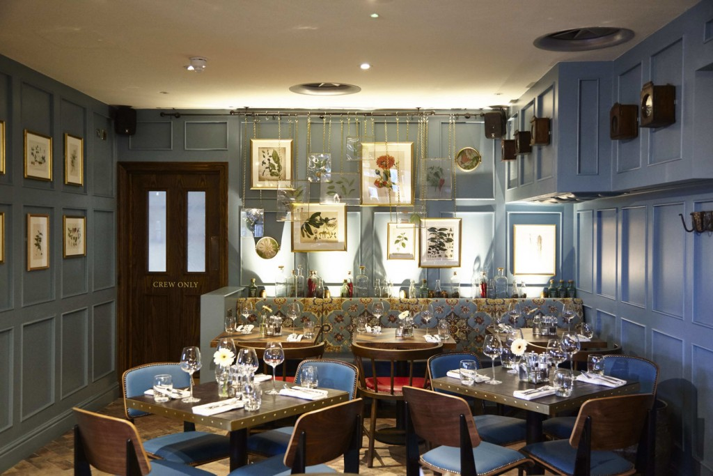 The Snug Private Dining Room At The Tea Merchant Pub. Room With Pale Blue  Wood