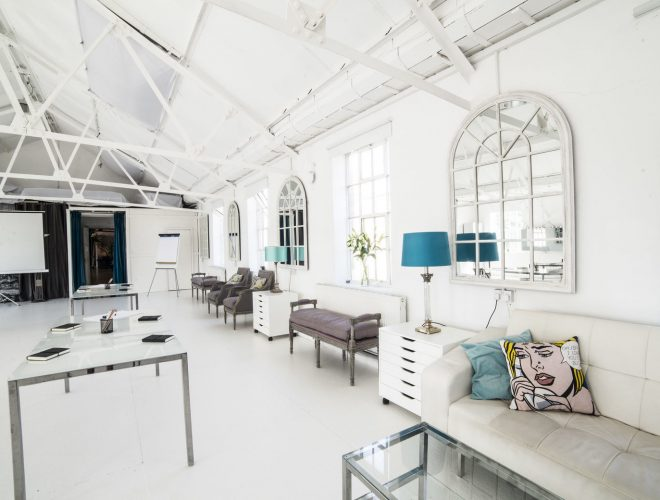 unique photography studios with blue furnishings