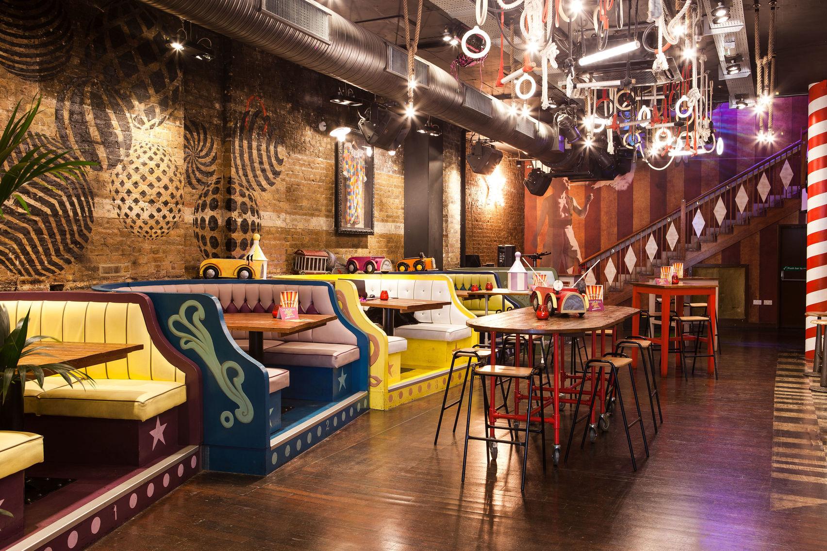 A bar with a circus theme