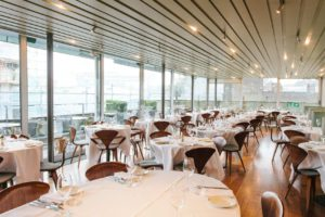 A top floor restaurant with glass walls