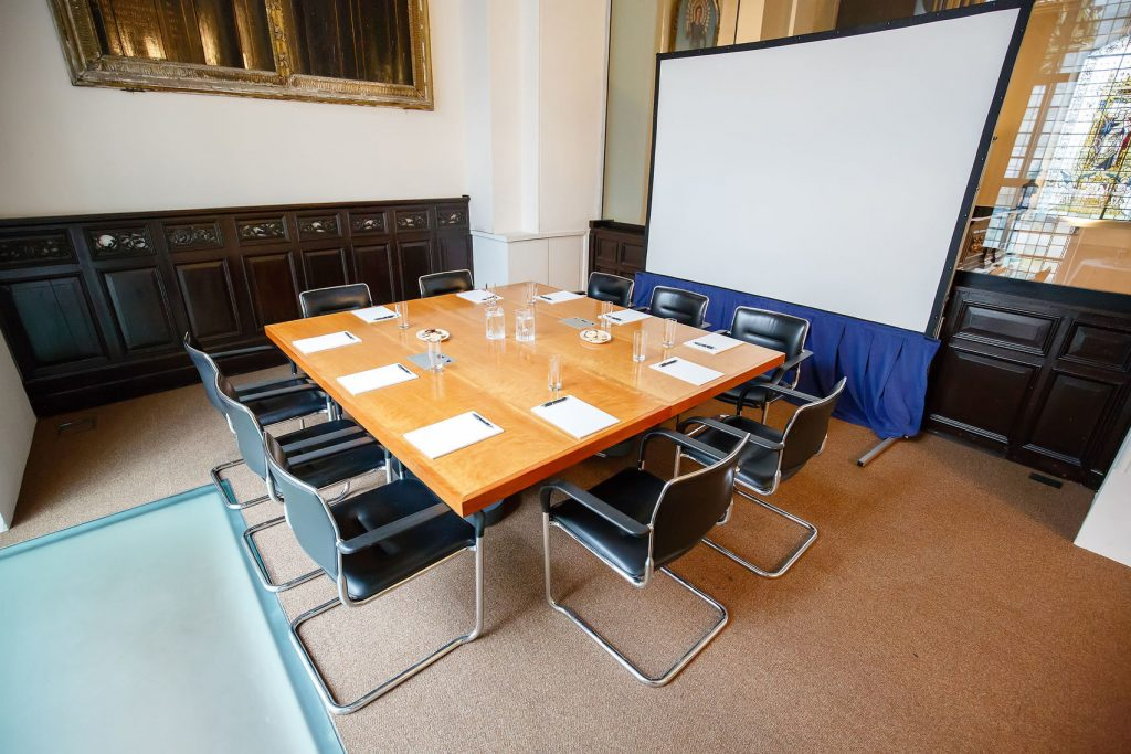 meeting room with brown table