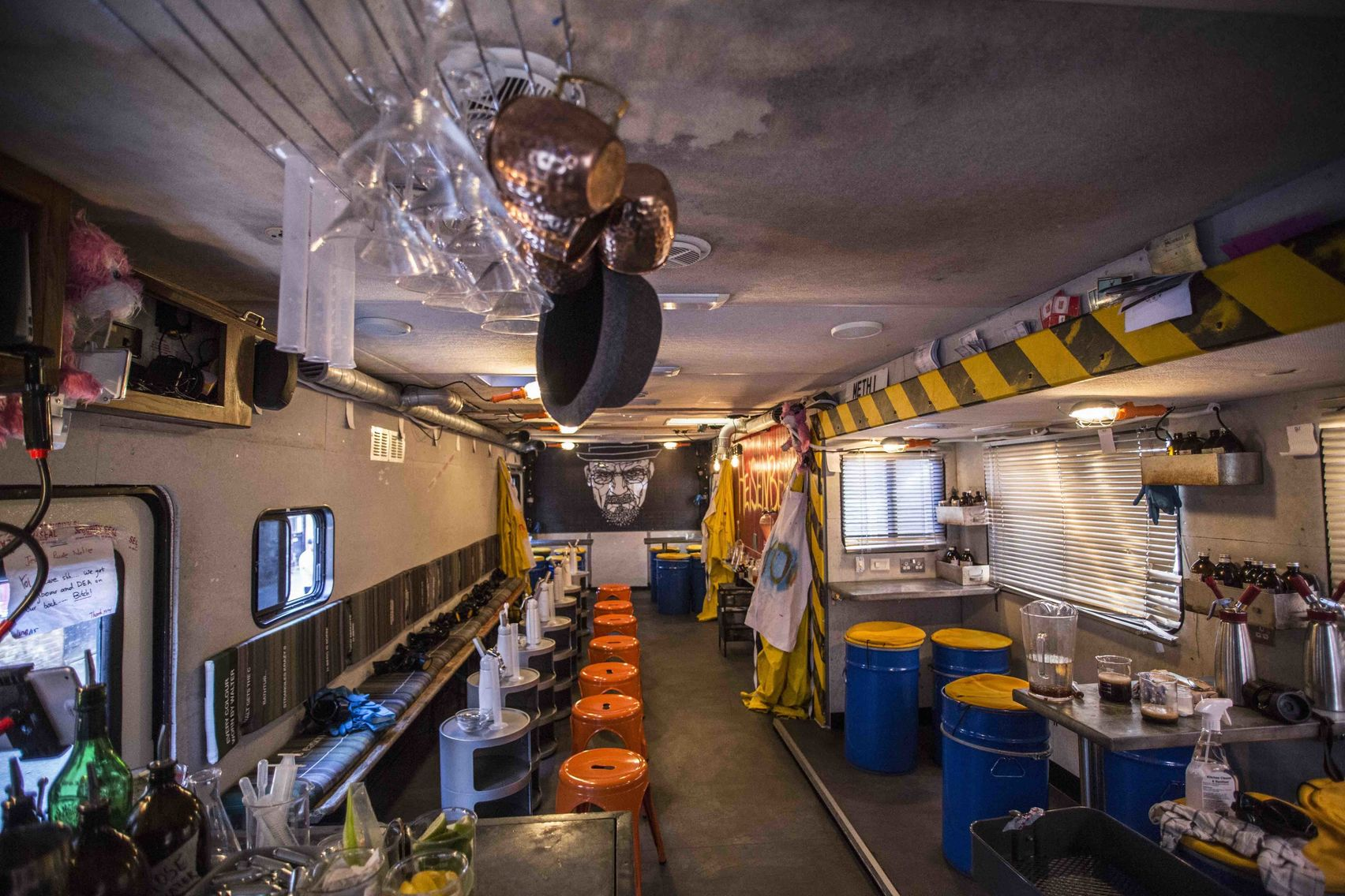 The most unusual party venues London has to offer. The image of the inside of the breaking bad inspired RV. With canisters and yellow and black tape hanging from the walls this is the perfect party venue in London