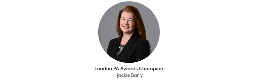 a small circular photo of a woman with red hair smiling at the camera. Underneath is text that reads 'London PA Awards Champion, Jackie Berry'.