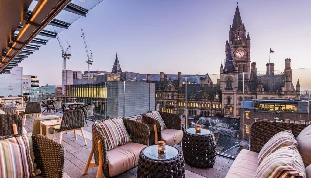 outdoor terrace overlooking view of Manchester