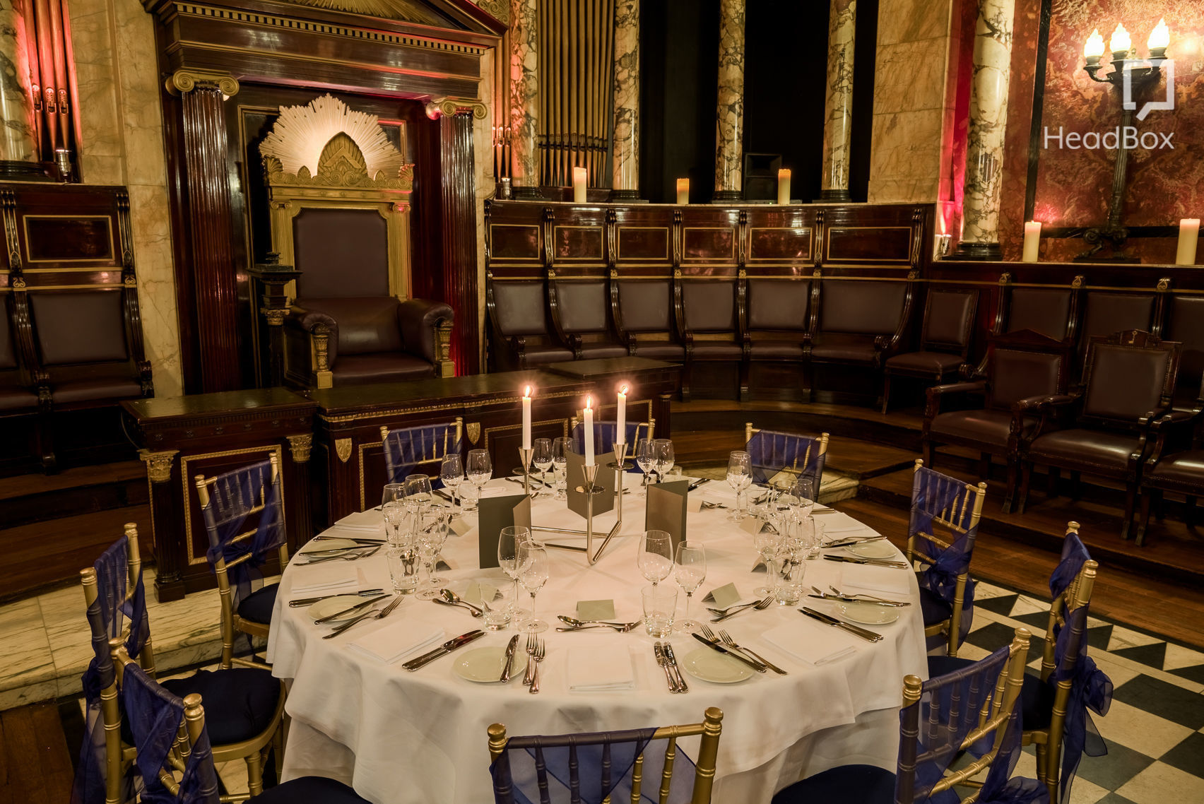 A dining table in the masonic temple London