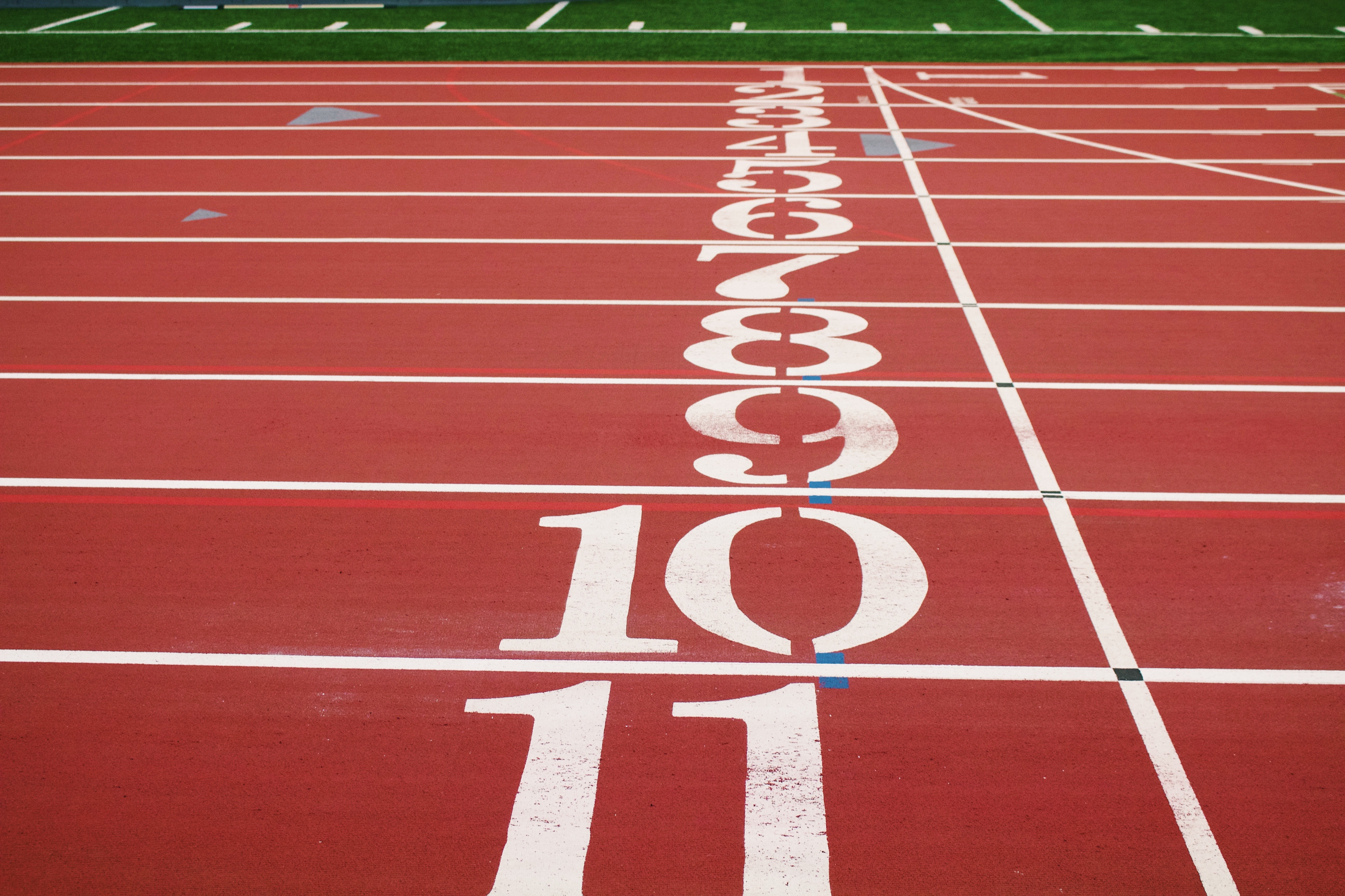 A running track with numbers on it
