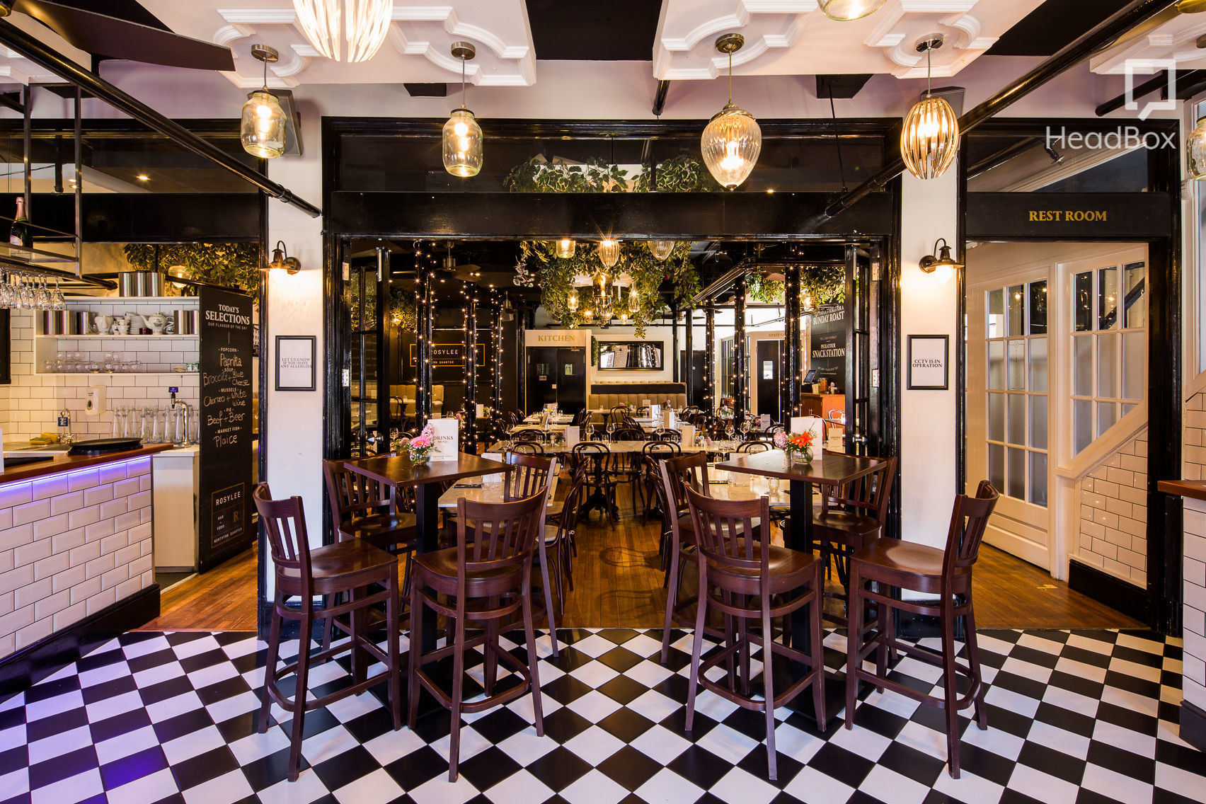 A Manchester restaurant white black and white floor