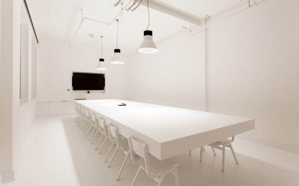 white meeting room in London