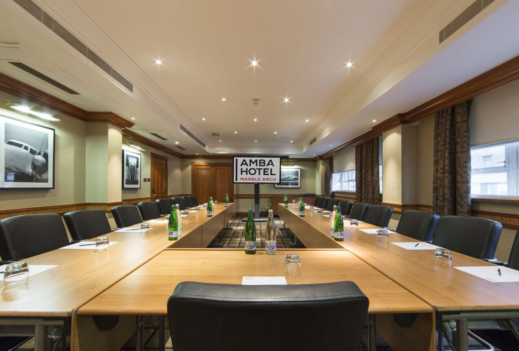 large conference room with u-shaped table