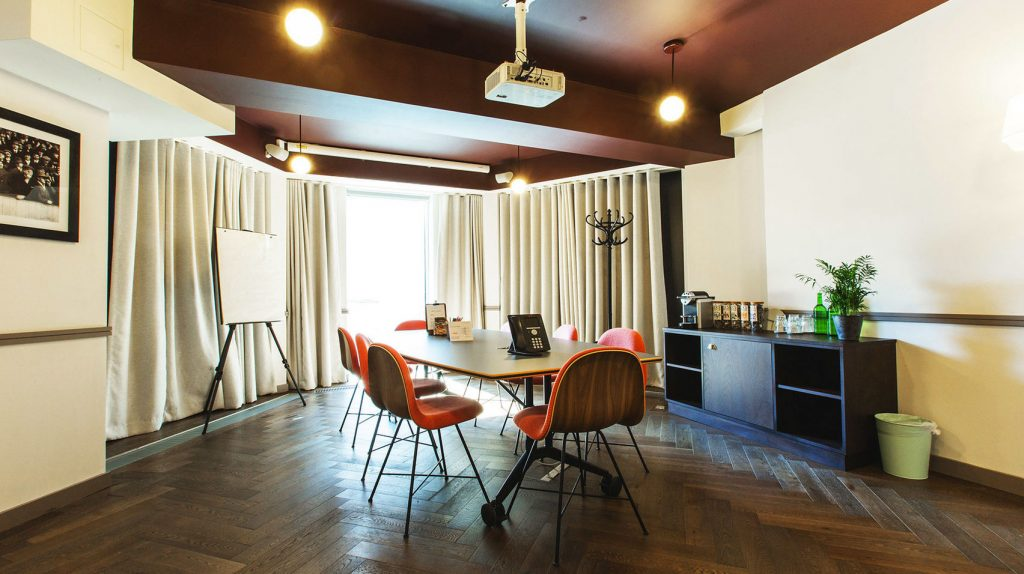 office meeting room with wooden table