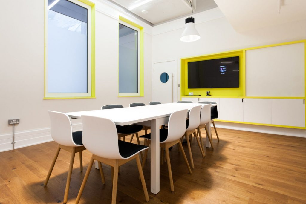bright room with plastic boardroom table