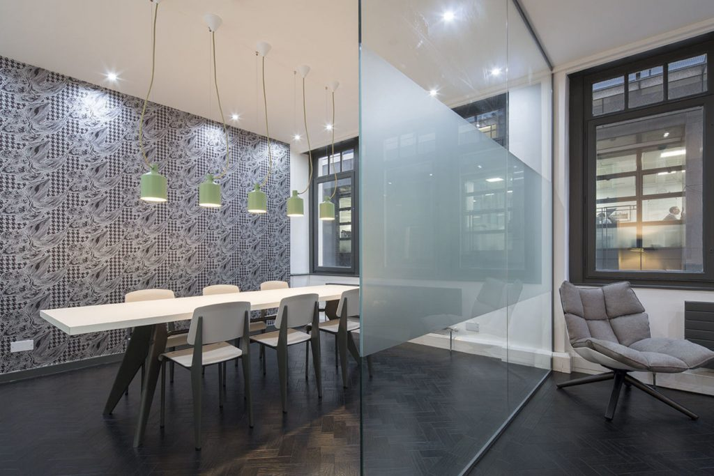 meeting room with a glass screen