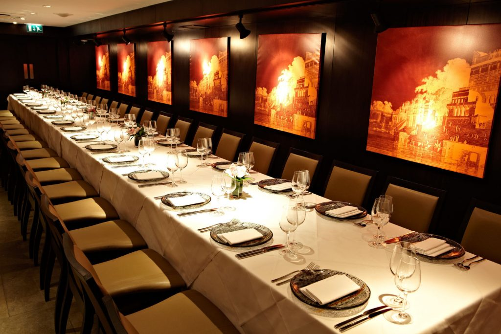 long rectangular table at benares