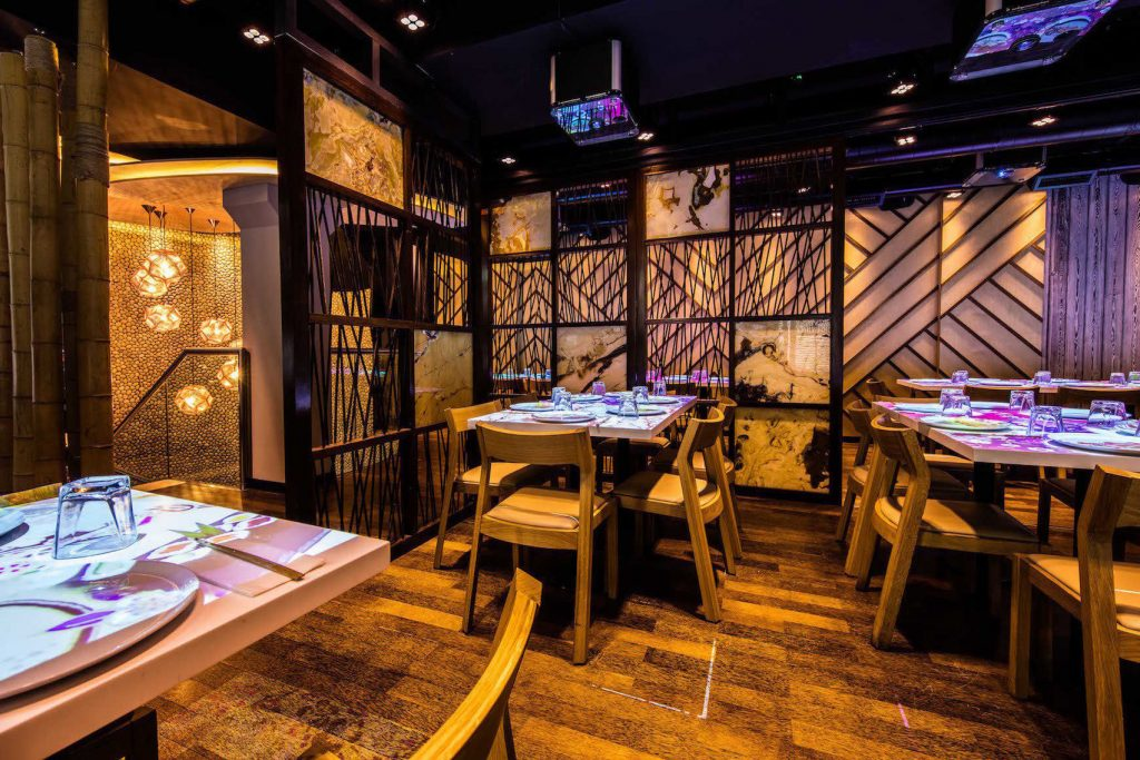 interactive dining tables at inamo