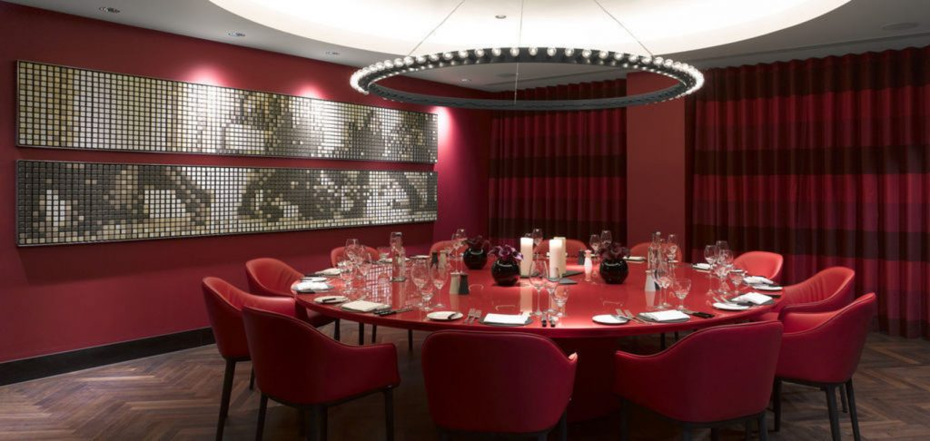 deep red themed dining room Kuryakin