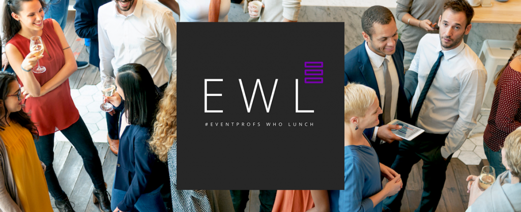 EWL logo on top of a photo of a crowd of trendy people networking