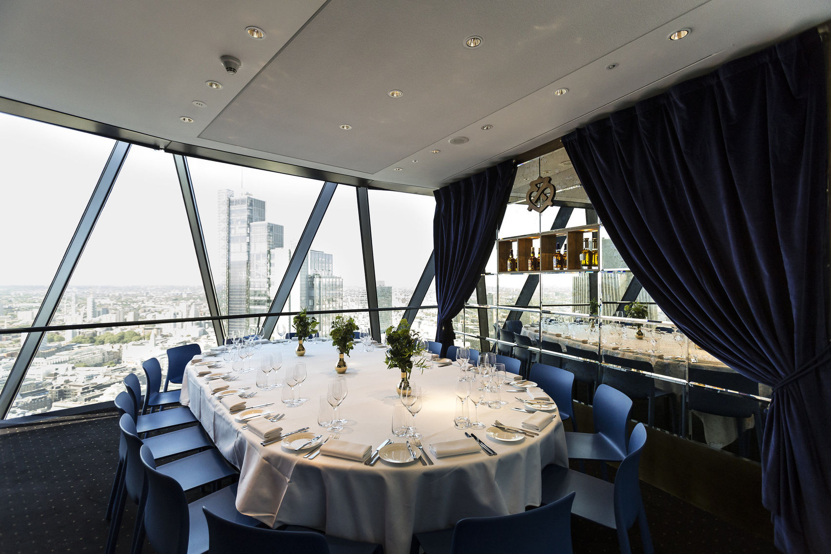 A room in the Gherkin with views of the London skyline
