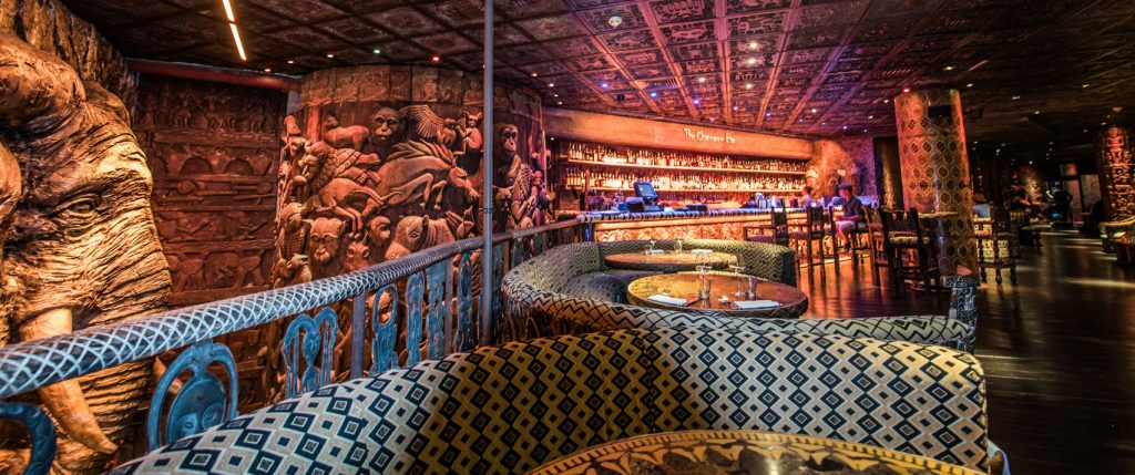 Shaka kulu is a quirky restaurant with aztec print sofas and chairs all around the room. The walls have craved wooden detailing and there are aztec tiles on the ceiling