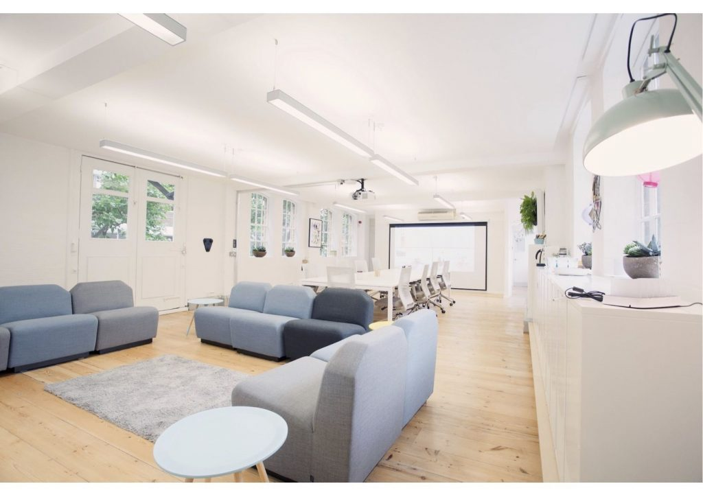 conference venue London with grey couches
