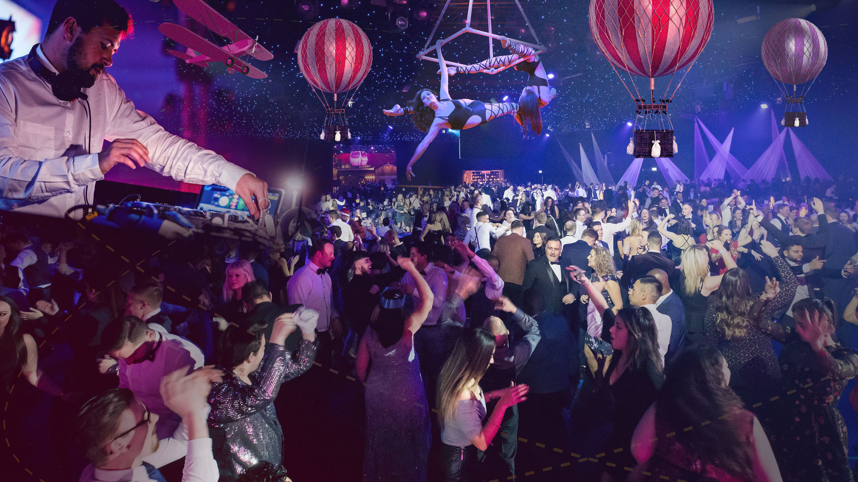 party scene with hot air balloons