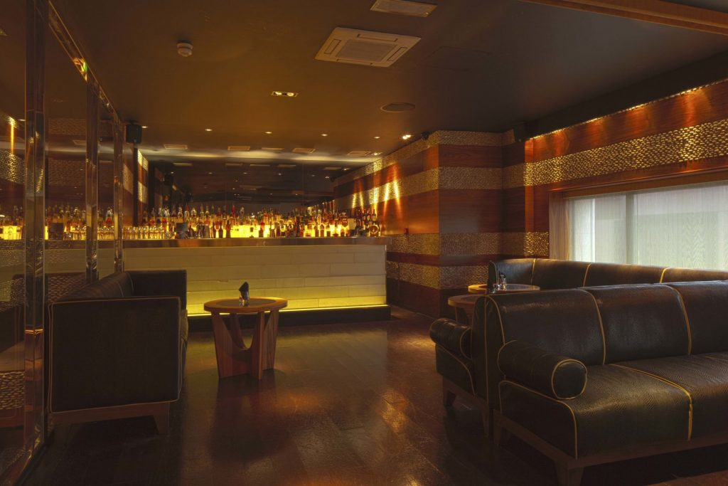 A bar on a mezzanine level perfect for a Christmas party