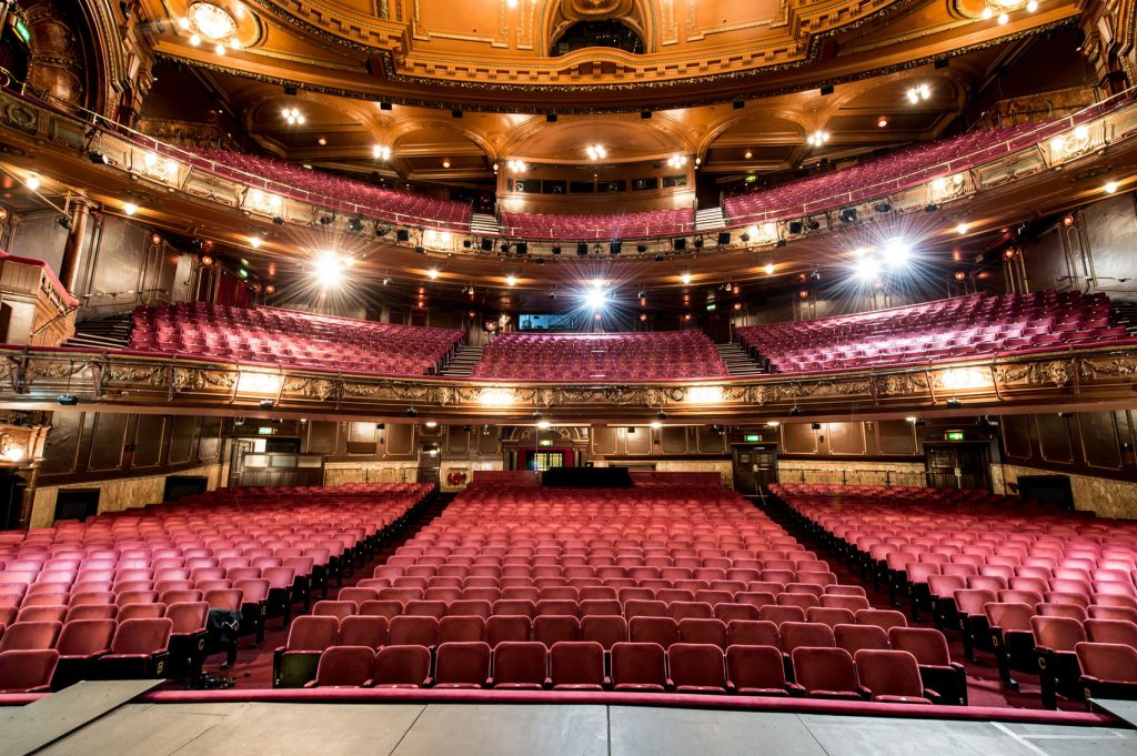 The London Palladium is a historic London venue. The image is from the stage looking out onto the seats.