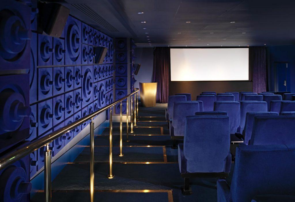 blue velvet seated public screening room