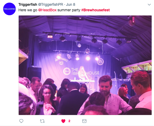 a screenshot of a tweet from Triggerfish that reads 'here we go @headbox summer party #brewhousefest' and the photo attached shows a crowd of people standing infront of the stage