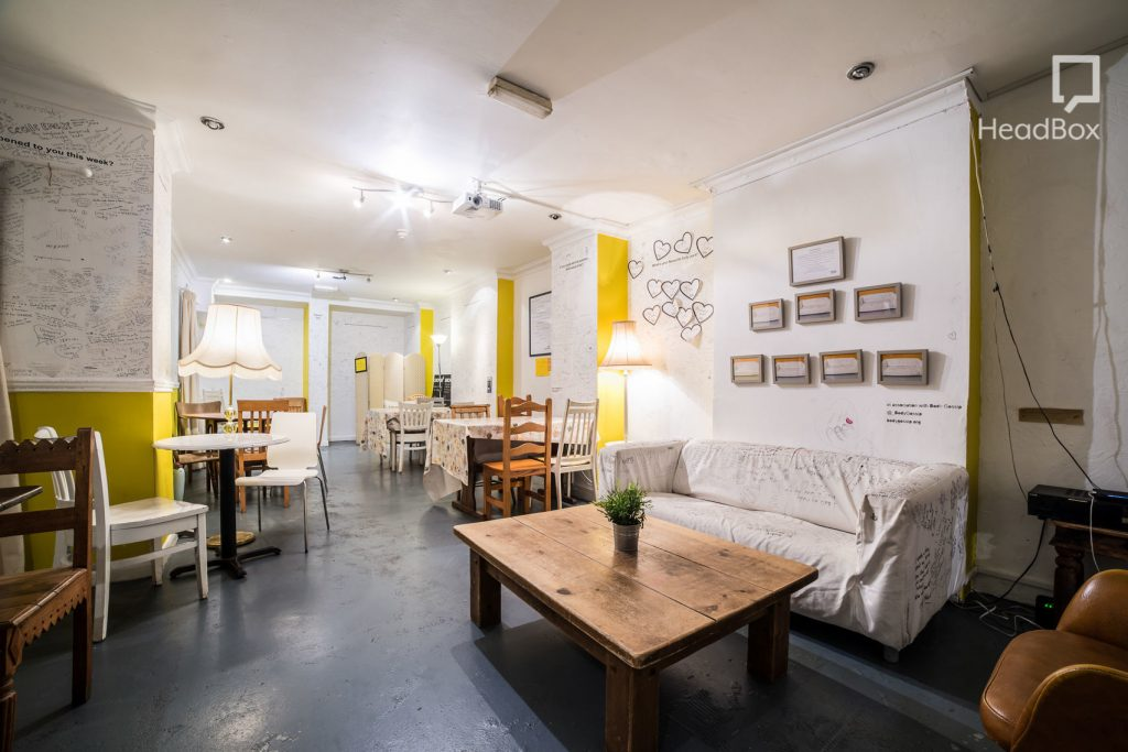 white walled london cafe to revise