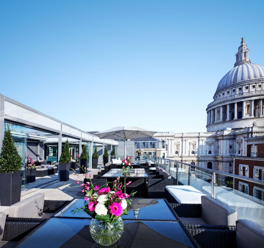 The Sky Bar is a large terrace space overlooking St.Pauls cathedral in London