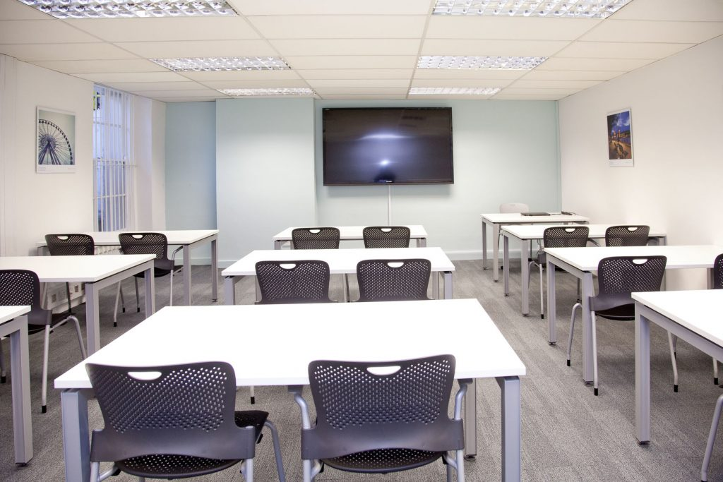 meeting room set out in classroom style.