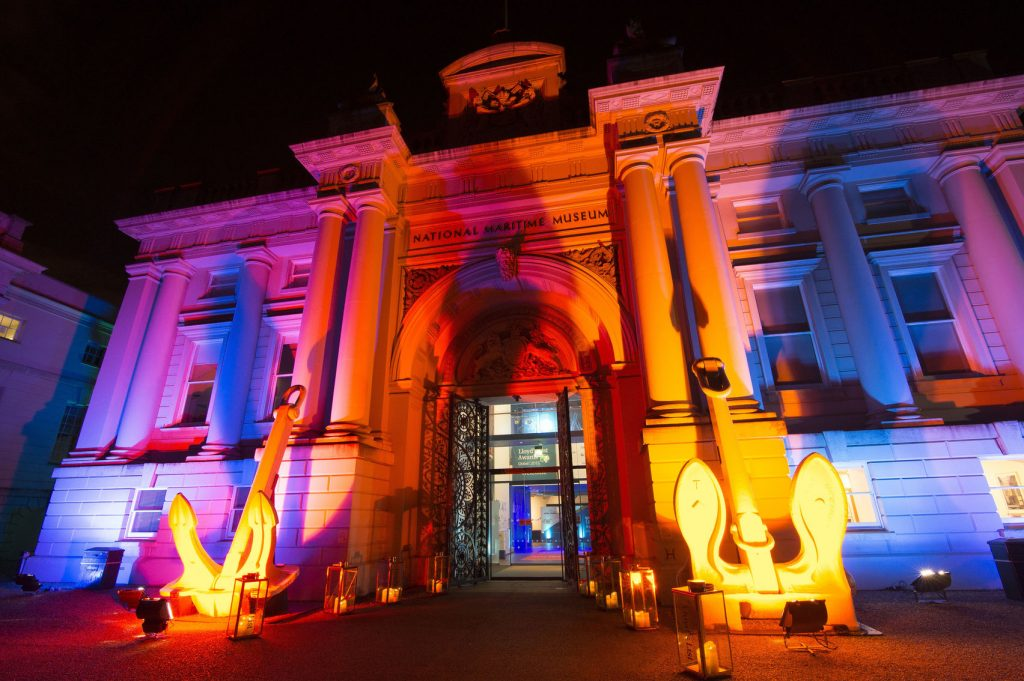 The National Maritime Museum which is flooded with colourful lights
