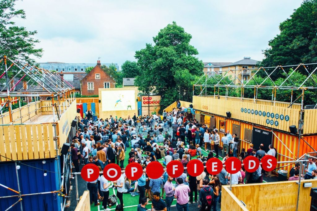 Pop fields is an open space with astro turf and street food stalls. The space is great for cinema's, football matches or an unusual summer party venue.