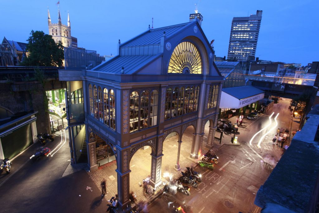 A shot of the outside of Roast Restaurant at dusk. The restaurant is on the mezzanine above Borough Market