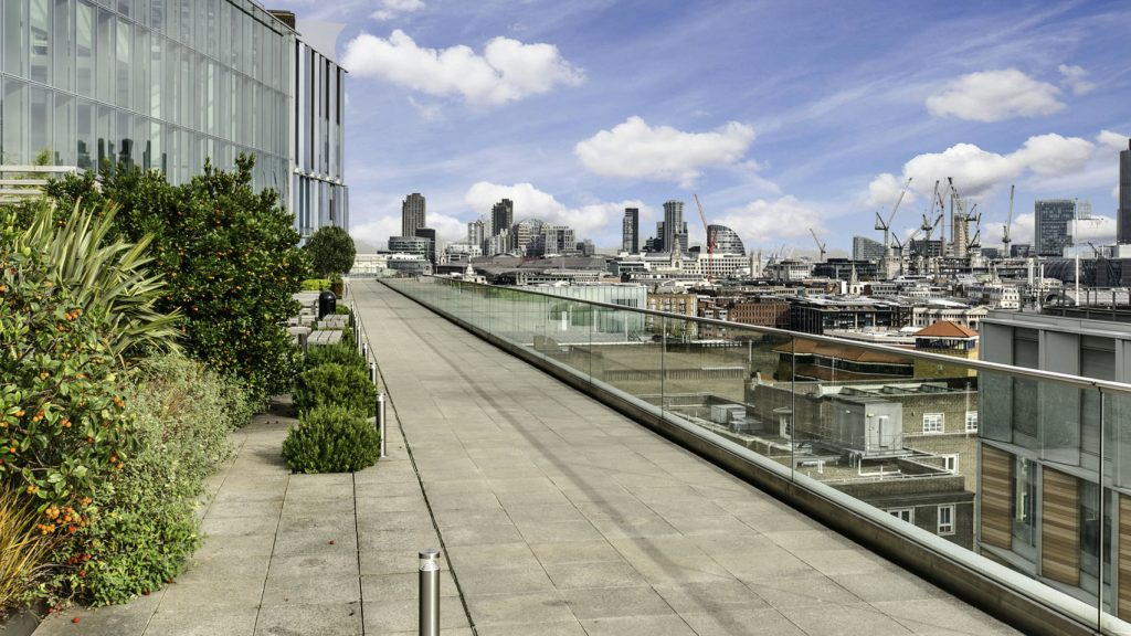 A roof terrace overlooking London