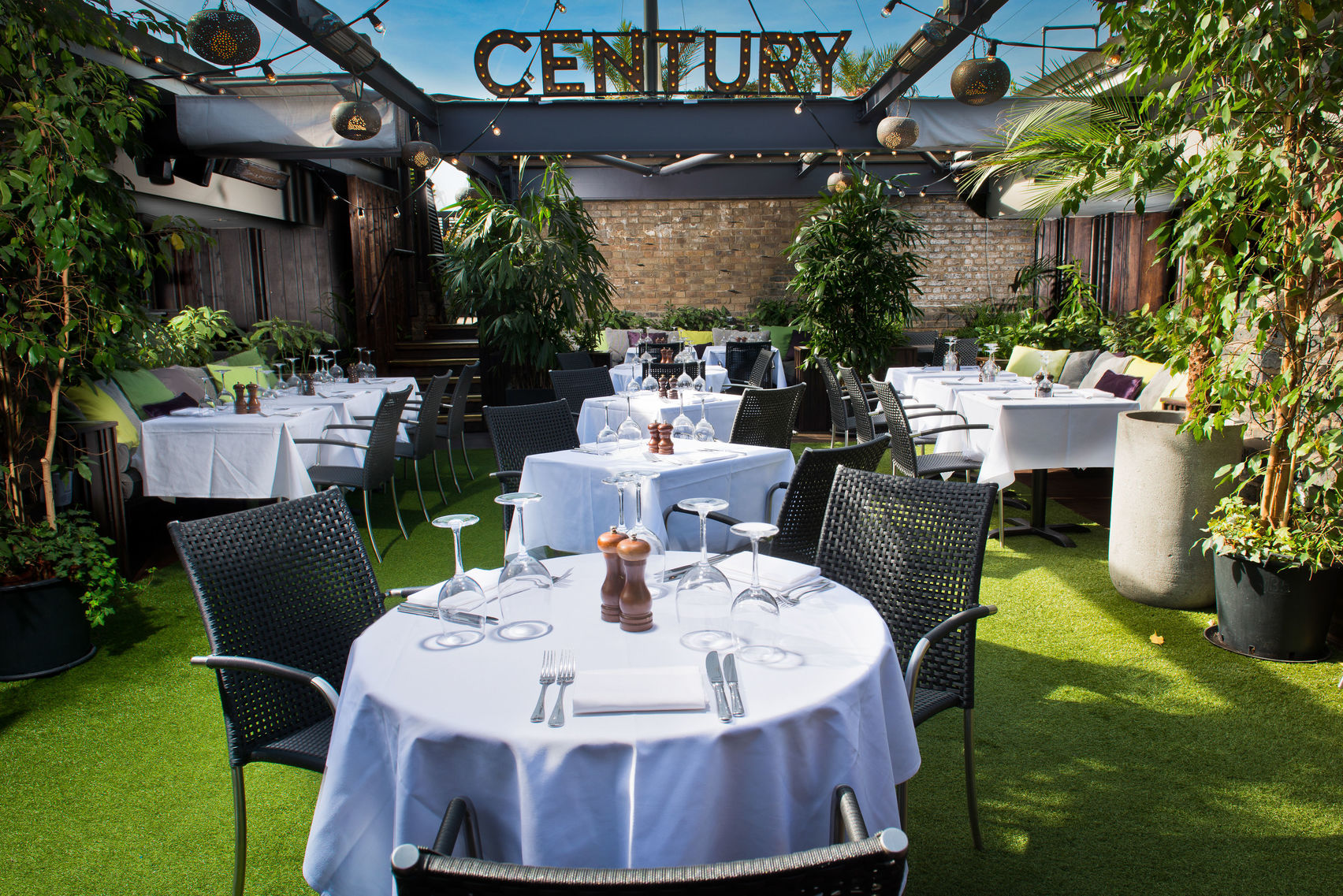 green rooftop terrace at Century Club
