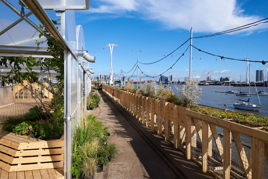 floating wooden jetty with London skyline
