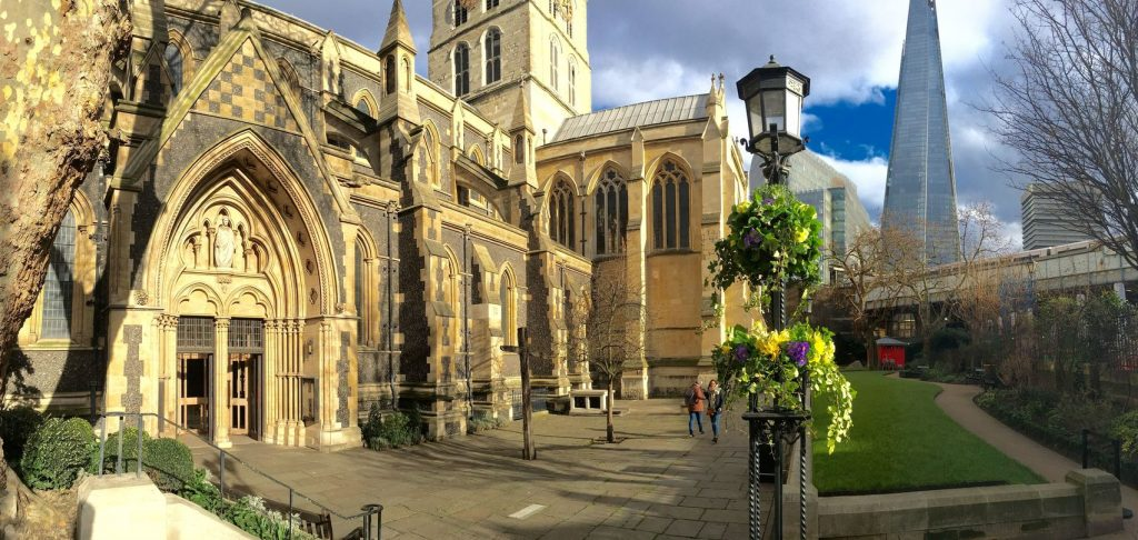 churchyard of Southwark cathedral overlooking The Shard