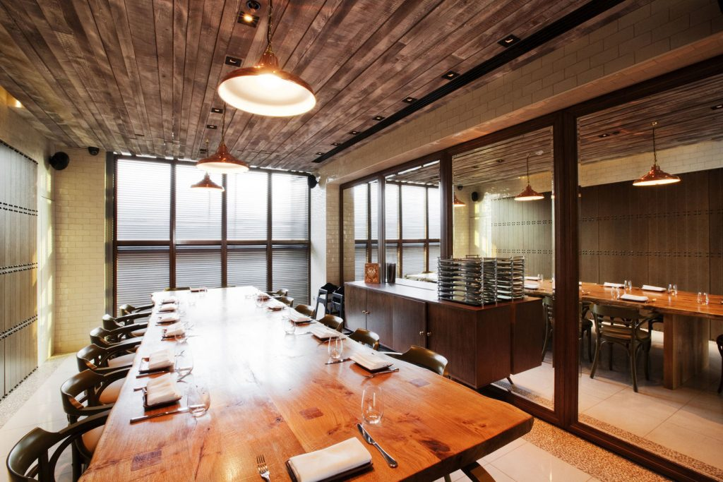 The private dining room in the duck and waffle.
