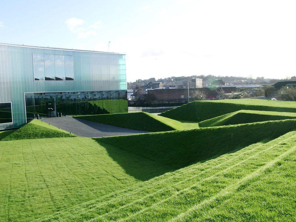 Contemporary, art deco gardens outside the Laban building