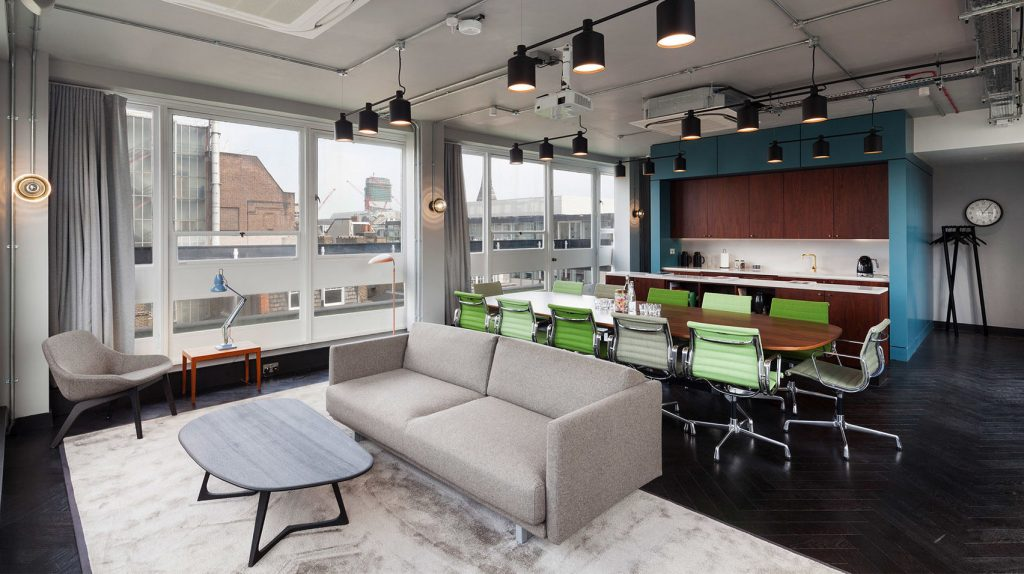 A penthouse meeting room with contemporary furnishings