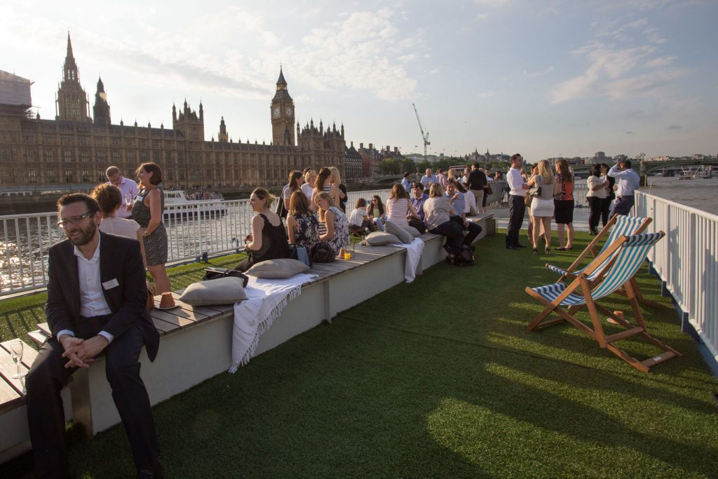 The rooftop of a large canal boat is the perfect unusual outdoor venue in Lodon