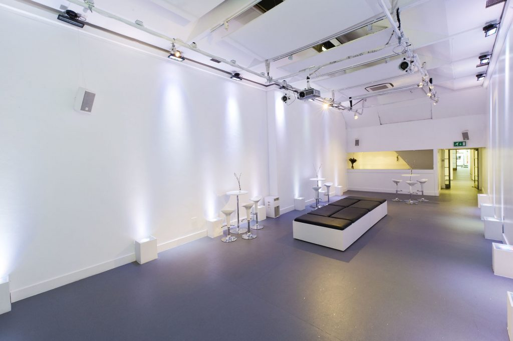 A white gallery space