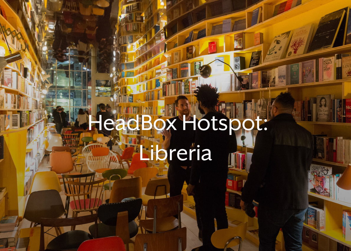 A quirky bookshop in east London perfect for unusual venue hire London, Libreria London. There's white overlay text on this image that reads 'headbox hotspot: Libreria london