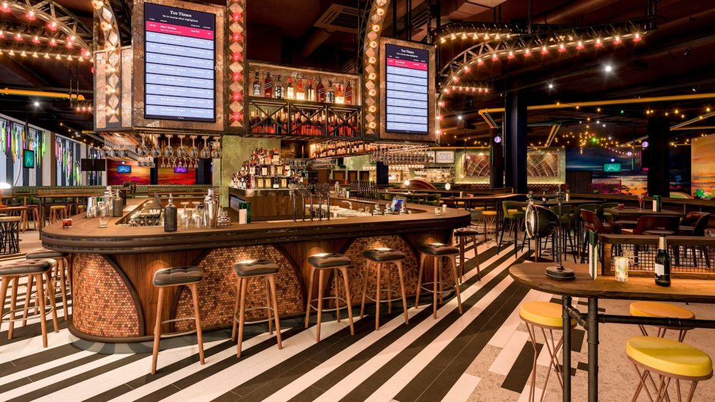 Puttshack is a one-of-a-kind venue. With striped flooring and an island bar in the middle the decor is modern and contemporary with plenty of bar stools and tables it's the perfect Christmas Party Venue.