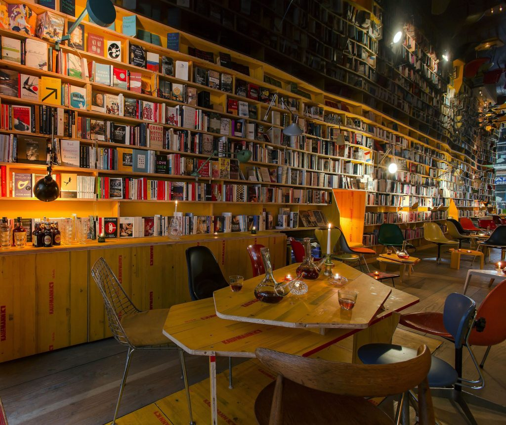 An unusual venue hire London. A bookshop with books floor to ceiling.