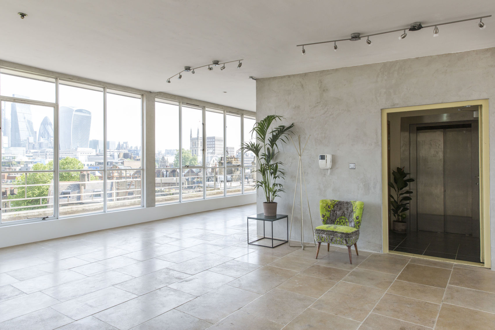 a large event space with a penthouse view at Menier Spaces