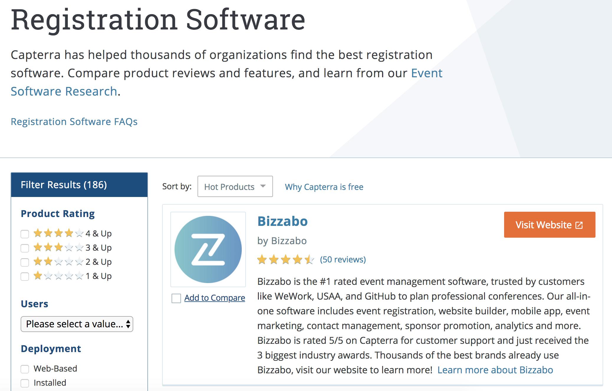 A screenshot of a Bizzabo dashboard