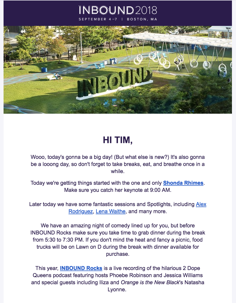 An example of an email campaign