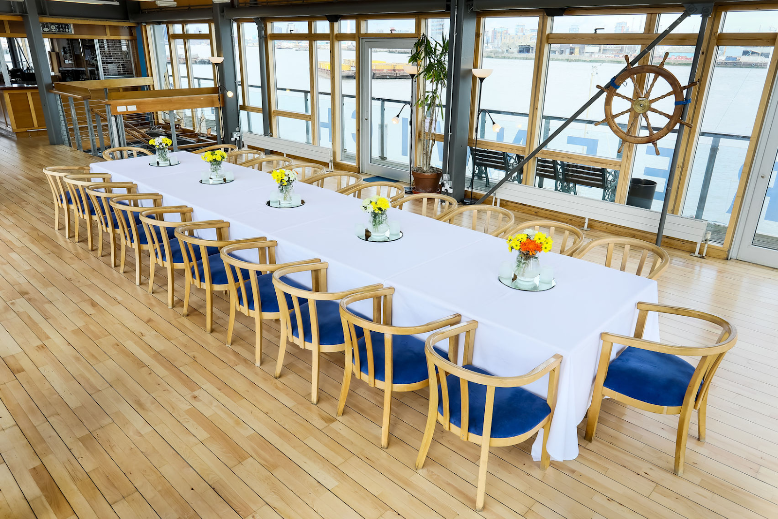 the greenwich yacht club in london set up for private dining
